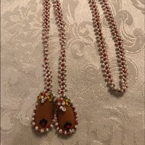 Jewelry - Native beaded  baby leather moccasin necklace